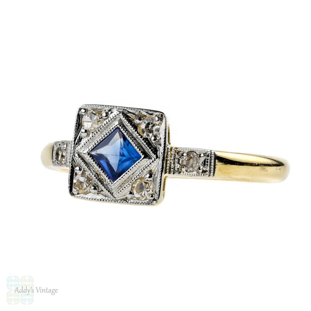 Art Deco French Cut Sapphire & Diamond Ring, 1920s Square Panel. 18ct & Platinum.