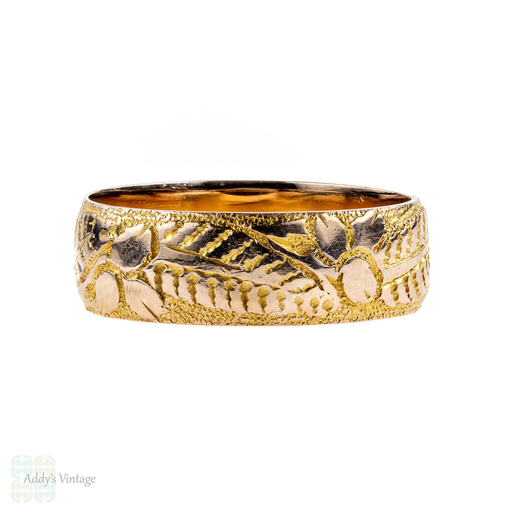 Antique Edwardian 9ct Engraved Ring, Wide 9k Leaf Pattern Wedding Band. Size M.5 / 6.5.