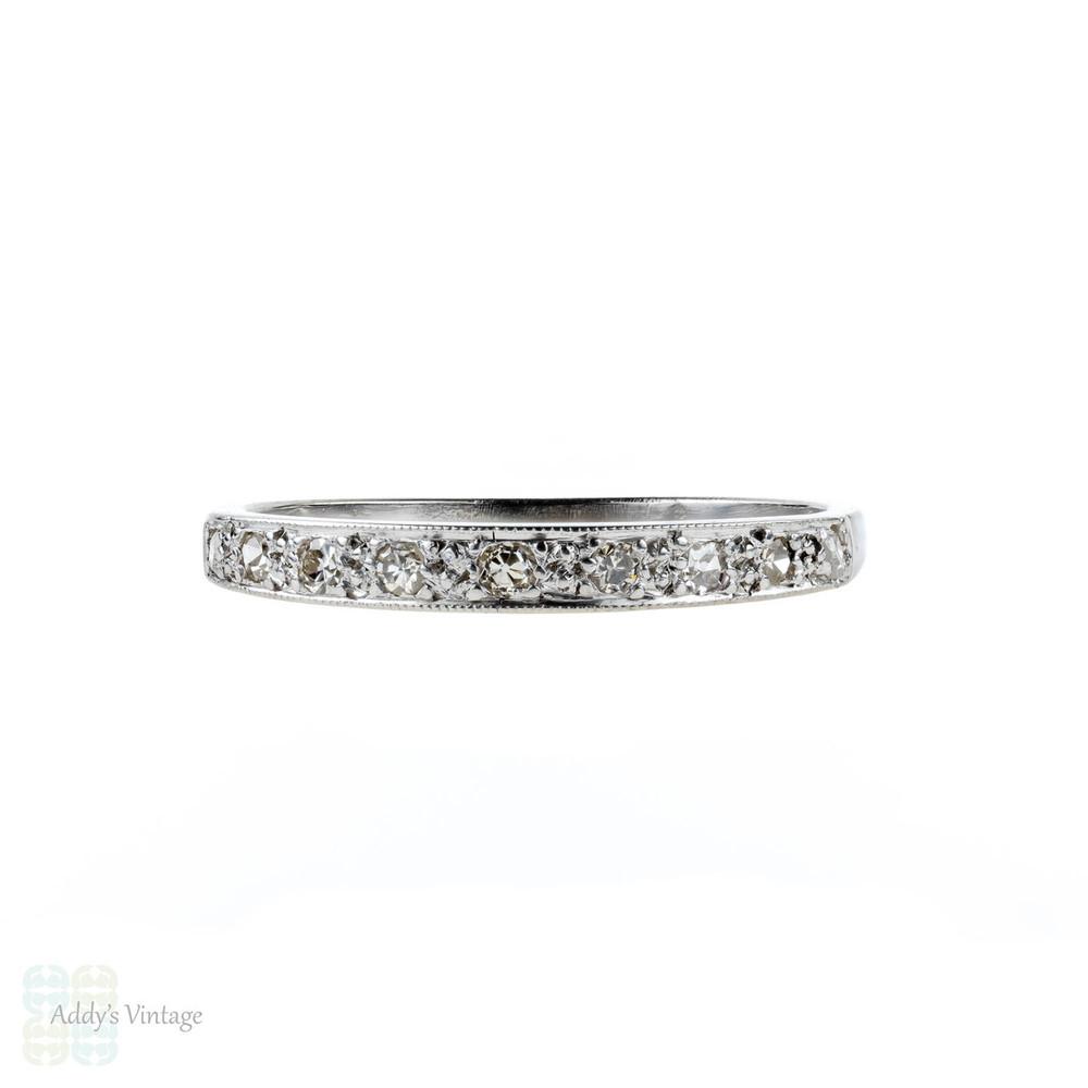 Art Deco 18ct Diamond Wedding Ring, Vintage 18k White Gold Half Hoop Band.