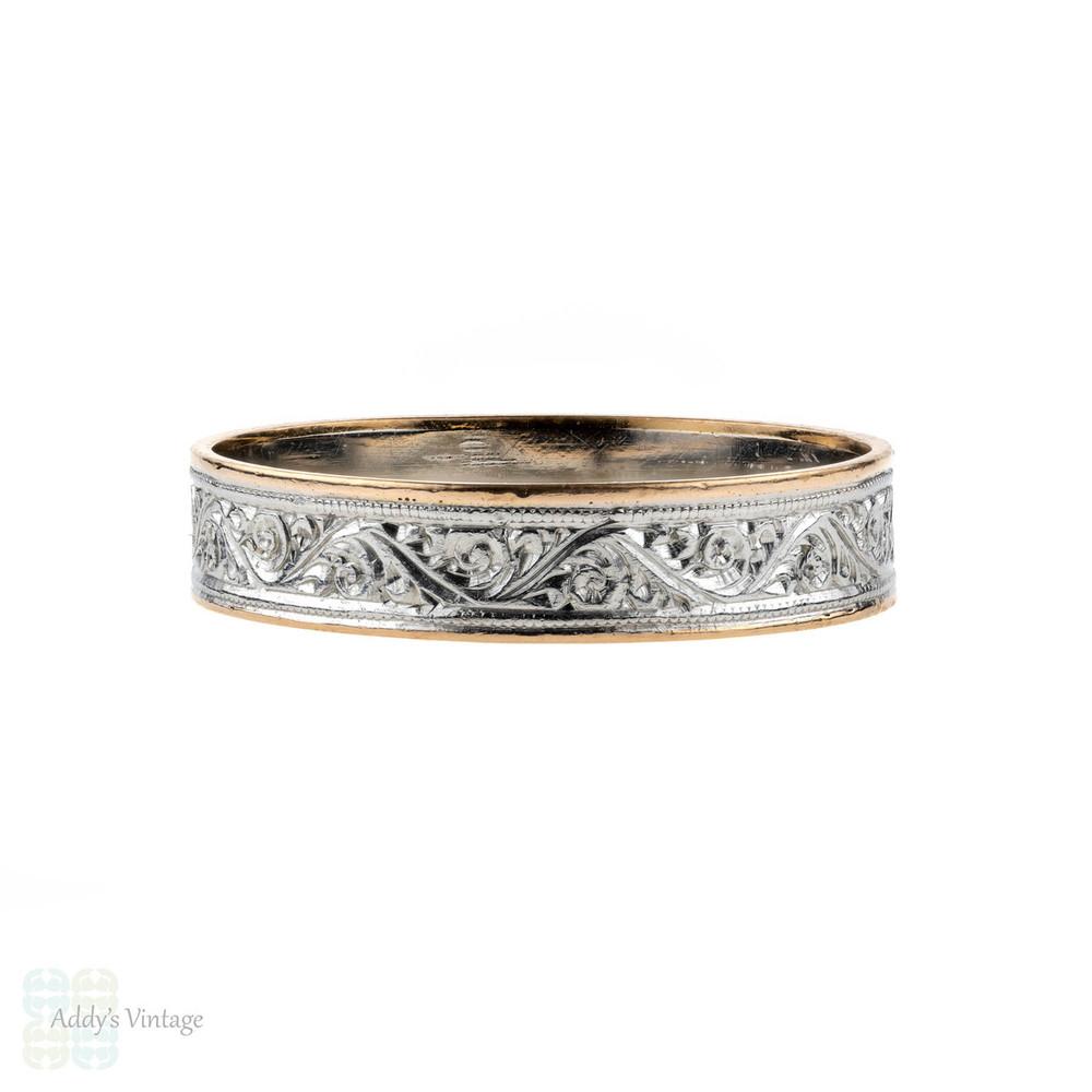 Antique 22ct & Platinum Engraved Wedding Ring, Wide 22k Gold Band. Size R / 8.75.