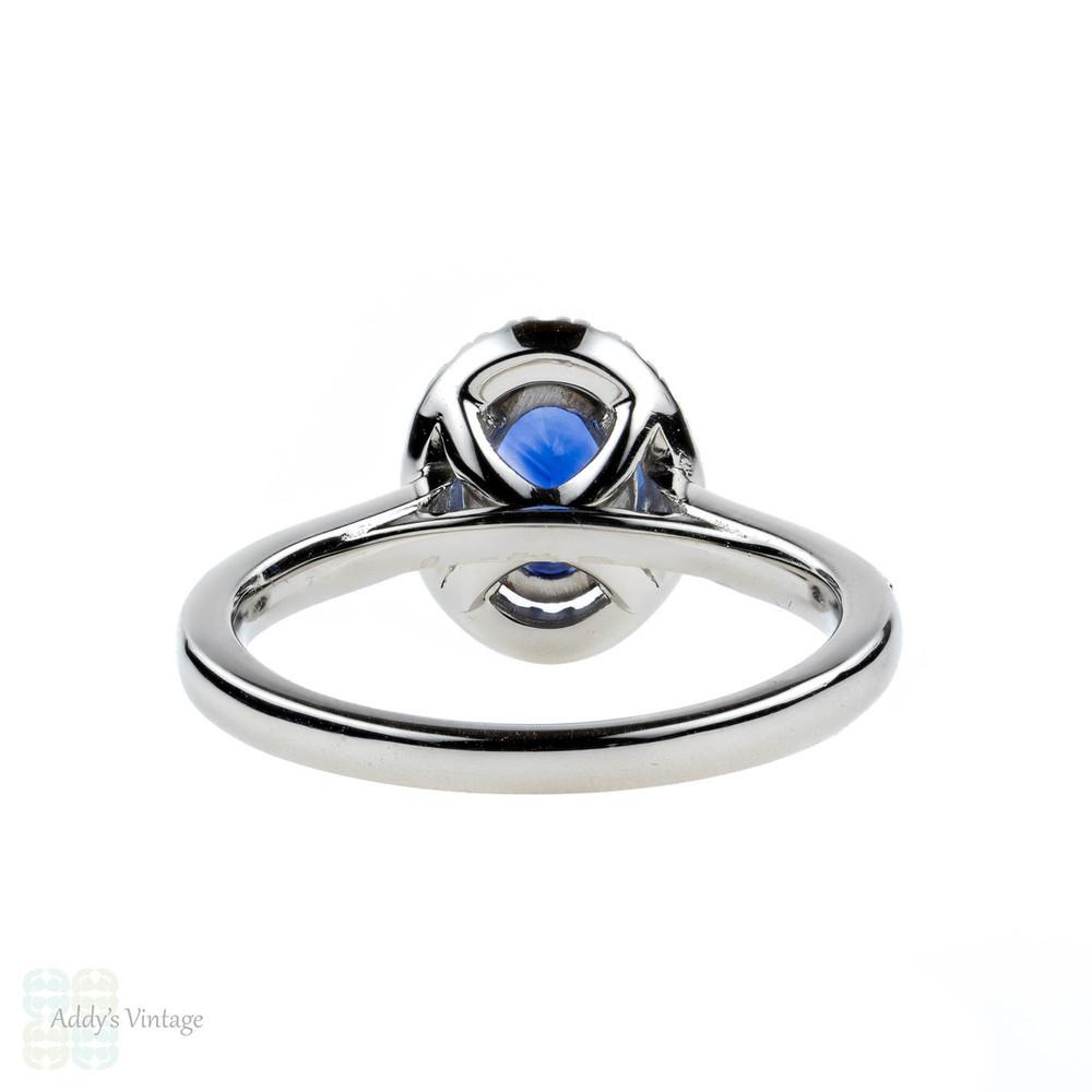 Sapphire & Diamond Engagement Ring. Classic Platinum Halo Blue Sapphire Ring.
