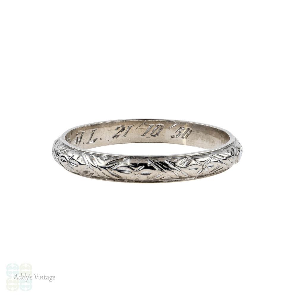 Vintage 18k White Gold Engraved Wedding Ring, Flower Engraving Ladies Band. Size M.5 / 6.5.