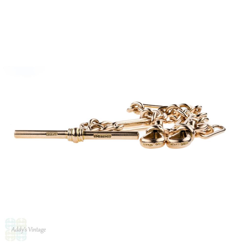 Antique 9k Gold Double Albert Chain. Victorian 9ct Trombone Link Necklace.