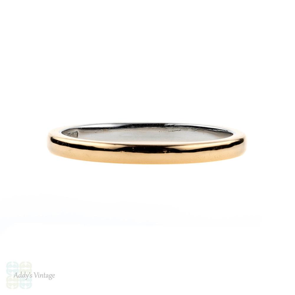 Vintage 22ct & Platinum Wedding Ring, Ladies 22k Band. Size I.5 / 4.75.