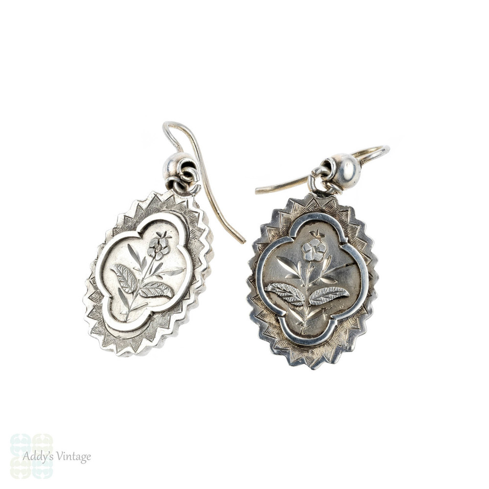 Victorian Forget Me Not Earrings, Sterling Silver Floral Design Aesthetic Movement Dangles, 1880s.