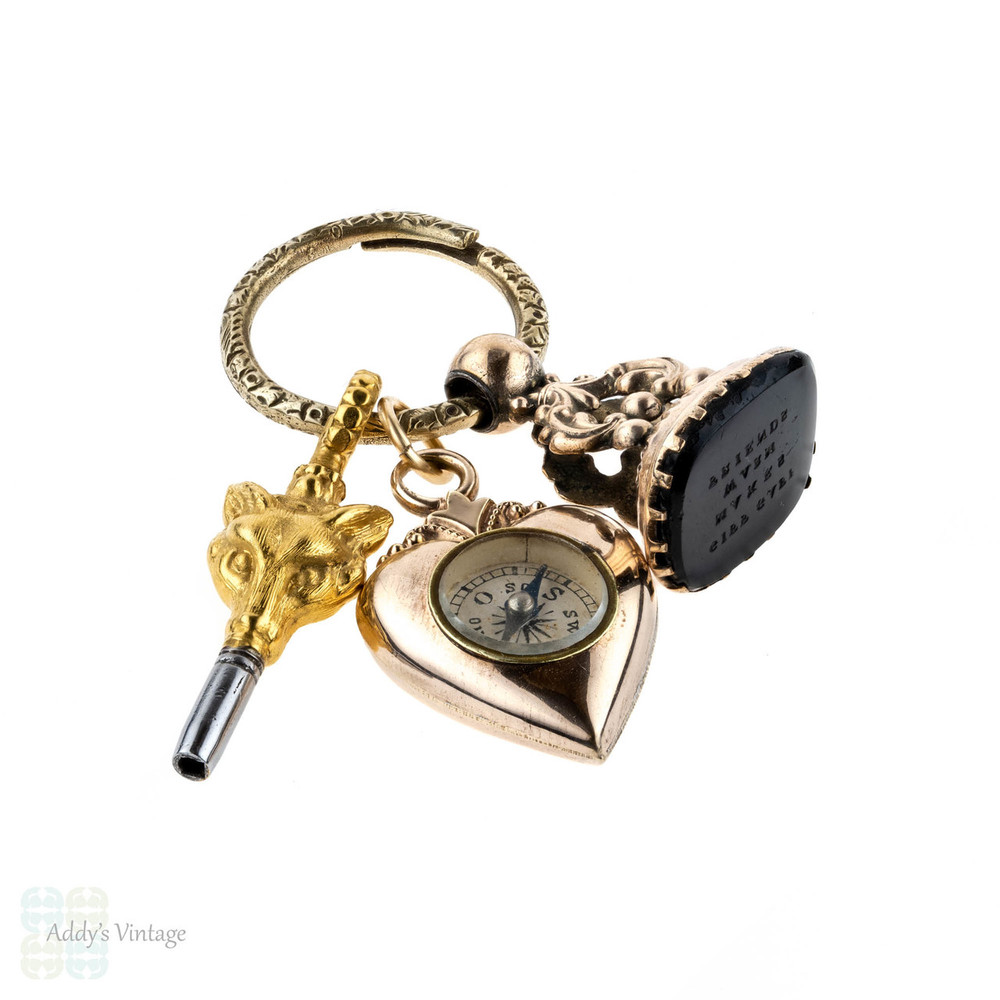 Antique Charm Set on Engraved Split Ring. Giff Gaff Seal, Fox Watch Key & Love Heart Compass.