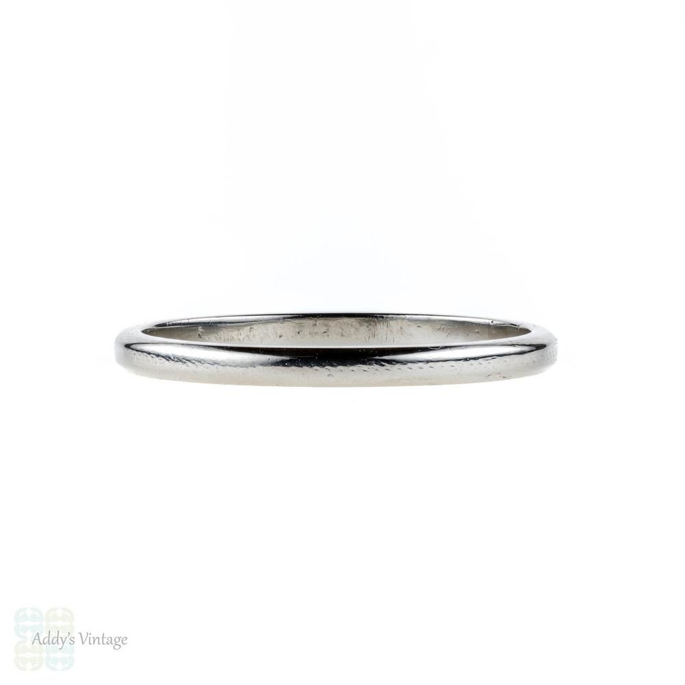 Art Deco Platinum Wedding Ring, 1920s Slender Ladies Wedding Band. Size N.5 / 7.