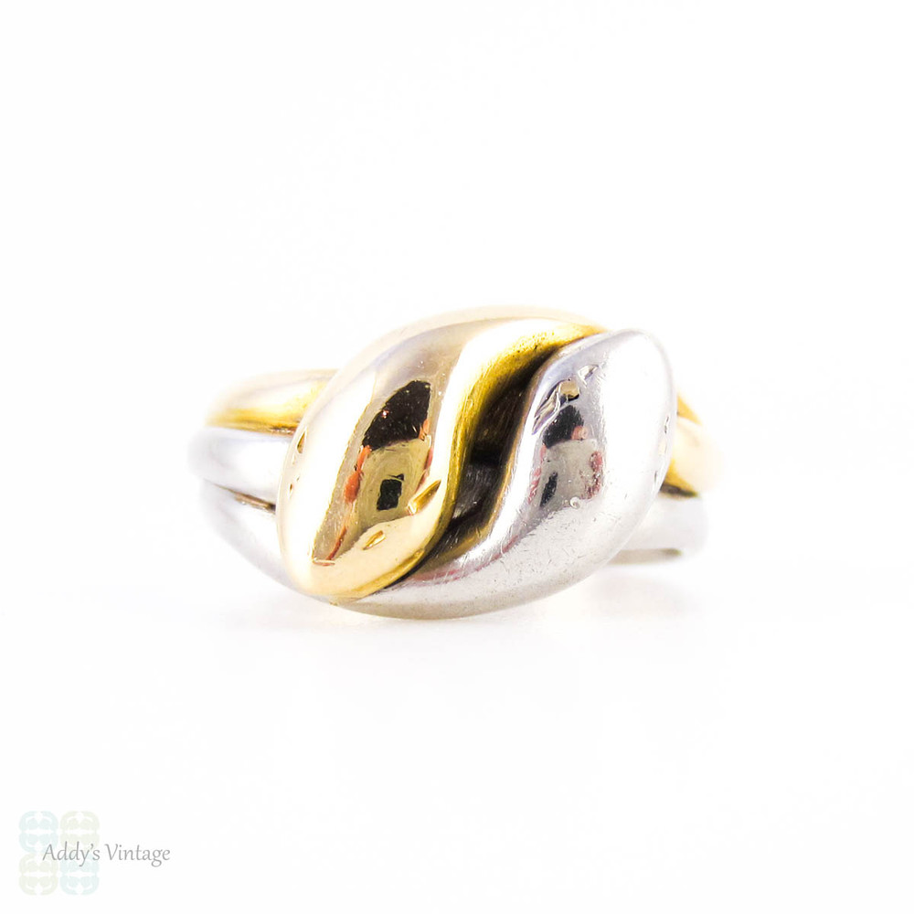 BALANCE. Antique Double Coiled Snake Ring, 18ct & Platinum. Victorian Two Headed Snake Ring.