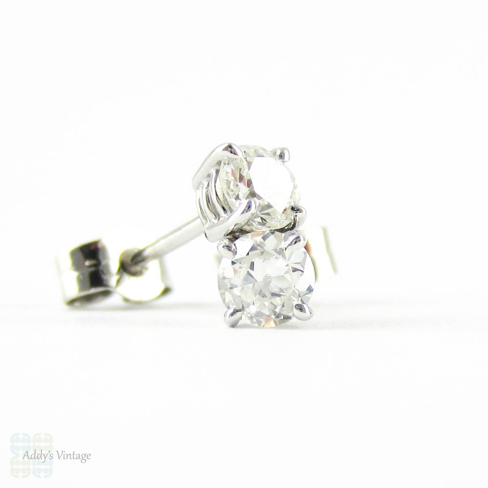 Payment 4. Old European Diamond Stud Earrings. Antique 0.45 ctw Old  Cut Diamonds in Classic 18ct White Gold Mountings.