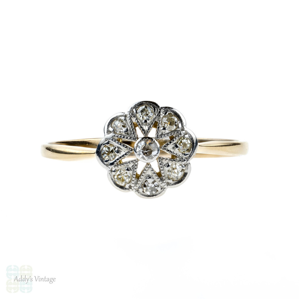 Antique Diamond Engagement Ring, 1910s Snowflake Star Design Diamond 18ct Ring.