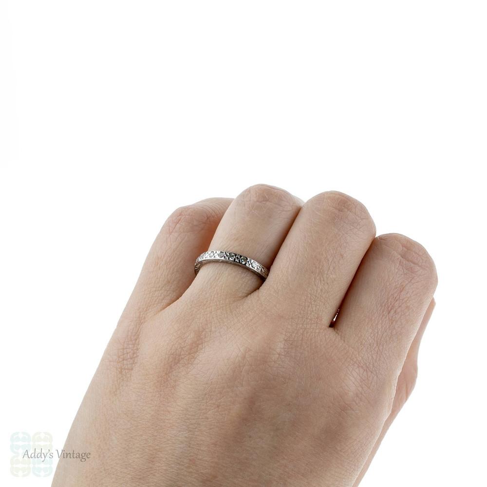 Art Deco Diamond Wedding Ring, 18ct White Gold Engraved Half Hoop Band. Size O / 7.25.