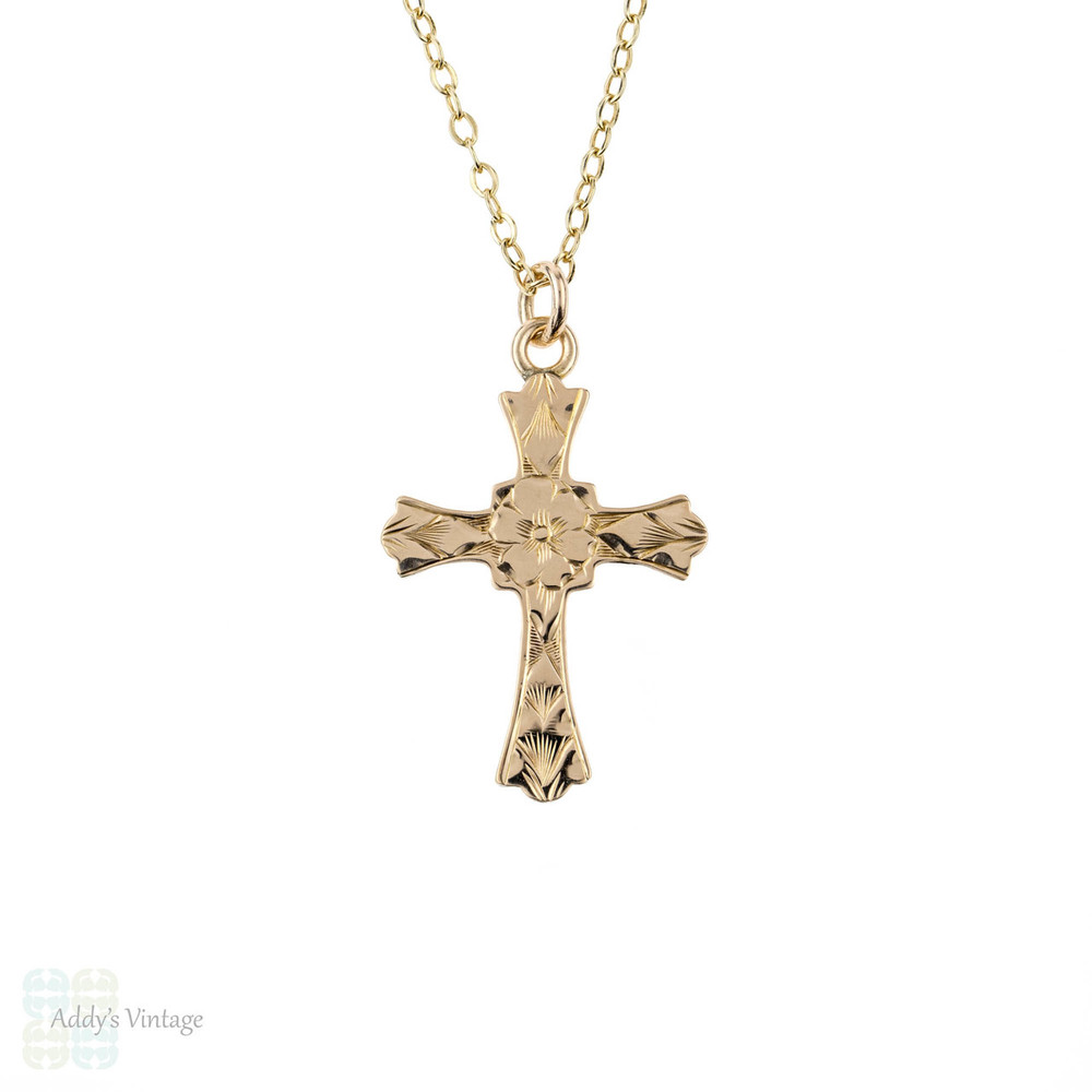 Engraved 9ct Gold Cross Pendant, Religious Christianity Charm on 9k Yellow Gold Chain.