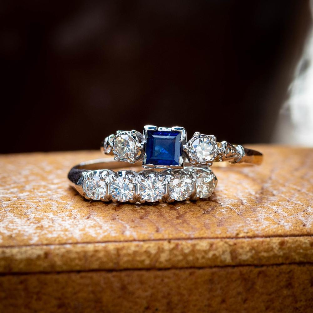 Sapphire & Diamond Engagement Ring, Three Stone Vintage Ring, Circa 1960s, 18ct Gold.