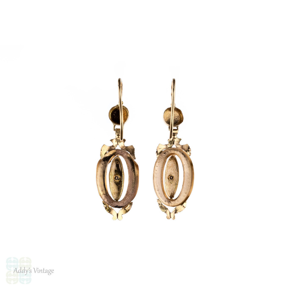 French 18ct Pearl Earrings, Antique Articulated 18k Yellow Gold Oval Shape Drops.