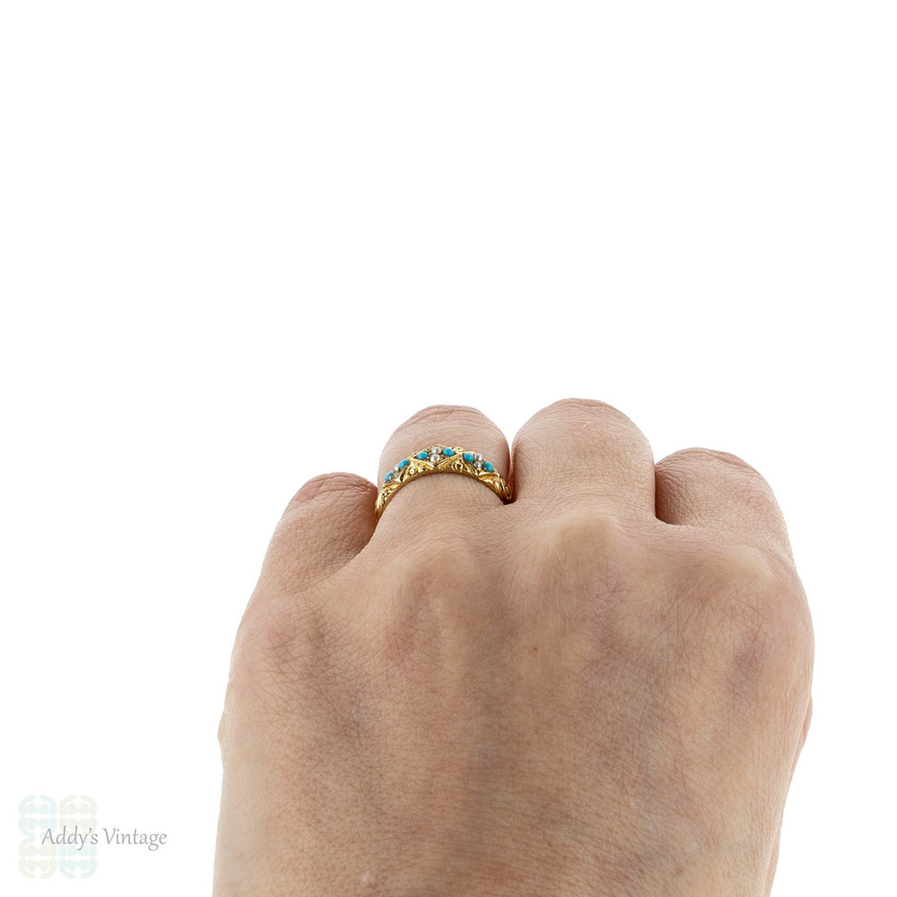 Victorian 18ct Turquoise Paste & Sead Pearl Ring, 1870s Engraved 18k Band.