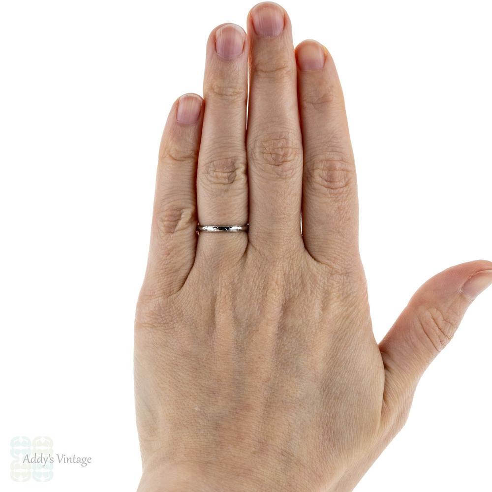 Antique Platinum Wedding Ring, Deakin & Francis Slender Ladies Band. Size K / 5.25.