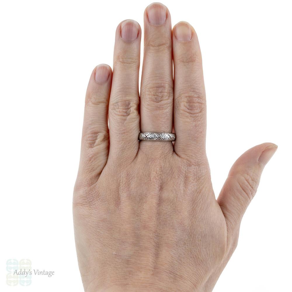 Filigree Diamond Wedding Band, 1920s Platinum Diamond Eternity Ring. Size Q.5 / 8.5.