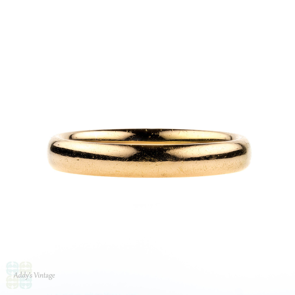 Vintage 22ct Ladies Wedding Ring, 1930s Court Comfort Fit 22k Band. Size L.5 / 6.