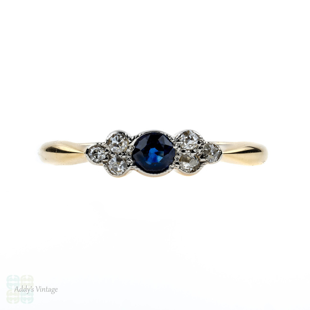 Antique Sapphire & Old Mine Cut Diamond Engagement Ring. Circa 1900, 18ct 18k Gold.