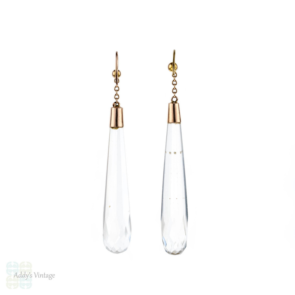 RESERVED. Rock Crystal Dangle Earrings, Edwardian 9ct 9k Long Tapered Faceted Drop Earrings.