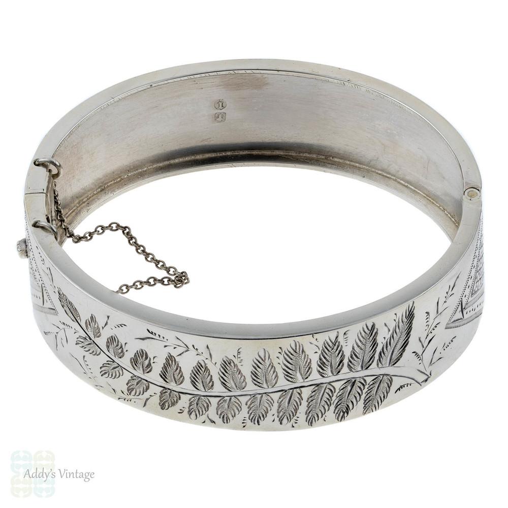Antique Victorian Fern Bracelet, Sterling Silver Flora Nature Scene Bangle. Circa 1880s.