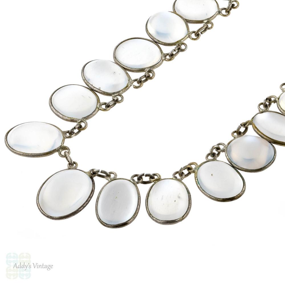 Vintage Moonstone Sterling Necklace, Mid Century Silver Fringe Design Graduated Stone Necklace.