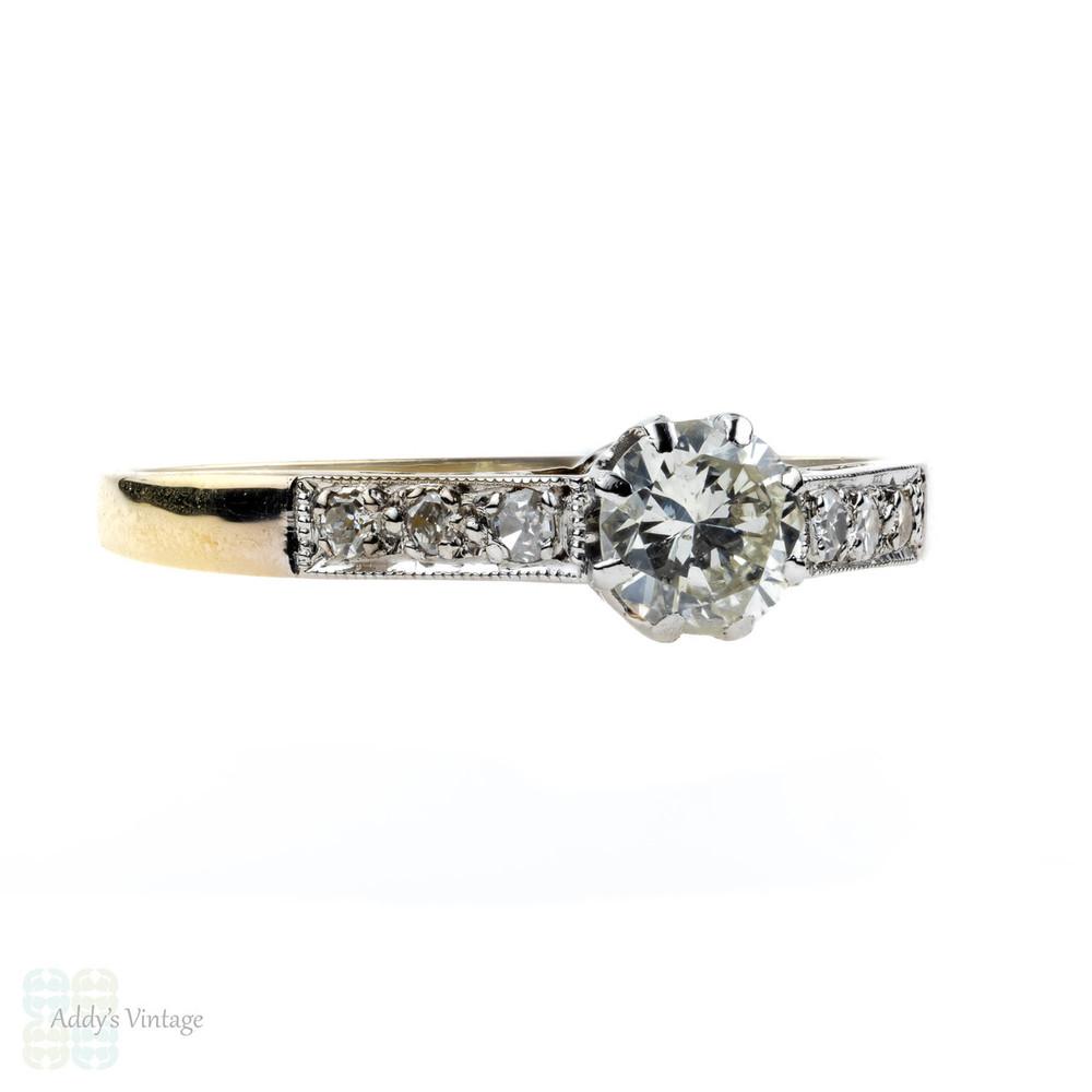 Vintage Diamond Engagement Ring, Single Stone in Diamond Mount, 18ct & Platinum