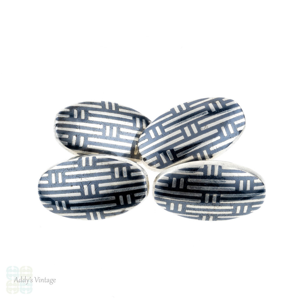 Niello Cuff Links, Antique Men's Silver Oval Shape Double Face Cufflinks, Circa 1900.