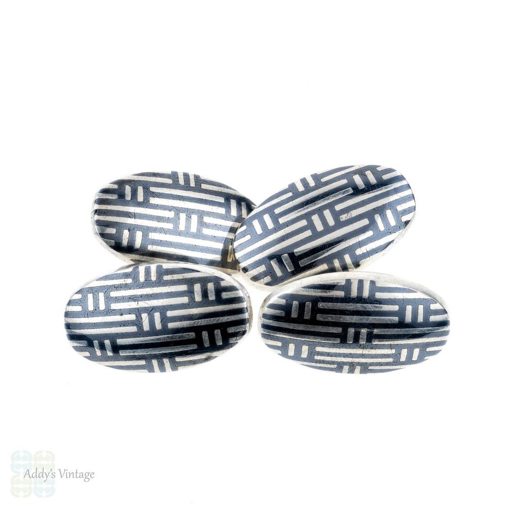 Niello Cuff Links, Antique Men's Silver Oval Shape Double Face Cufflinks, Circa 1900.