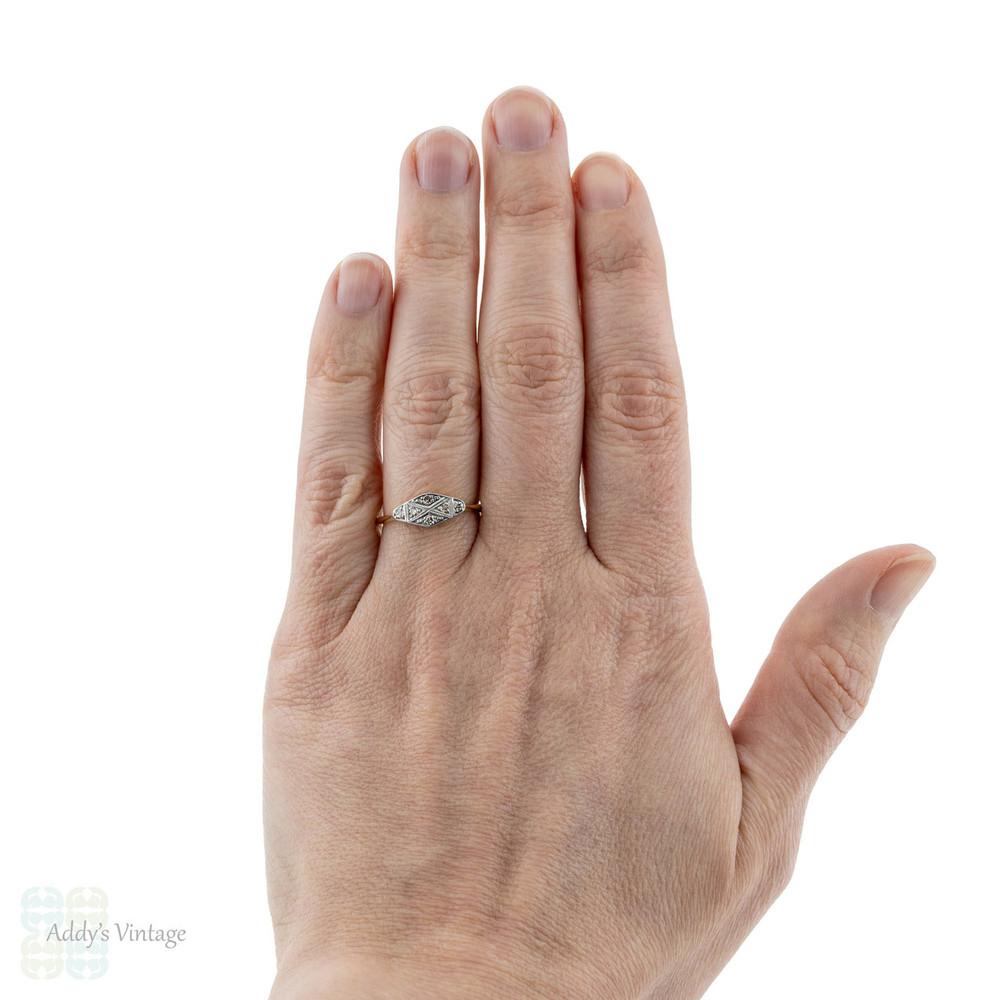 Art Deco Diamond Engagement Ring, Tapered Design Panel Ring. 18ct & Platinum.