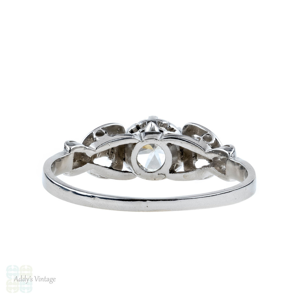 Diamond Engagement Ring, Vintage 14k White Gold 0.52 ct Single Stone in Engraved Setting.