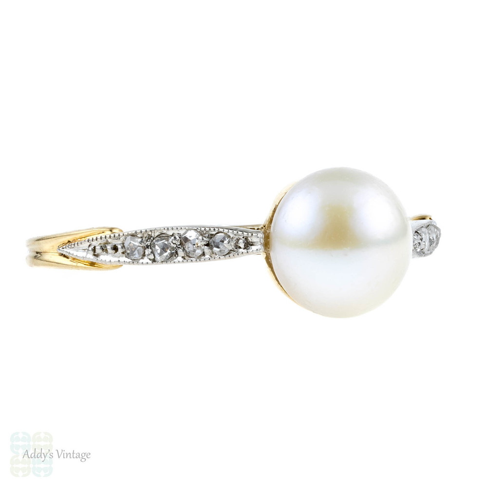 Antique Pearl & Rose Cut Diamond Engagement Ring. Edwardian 18k Two Tone Ring.