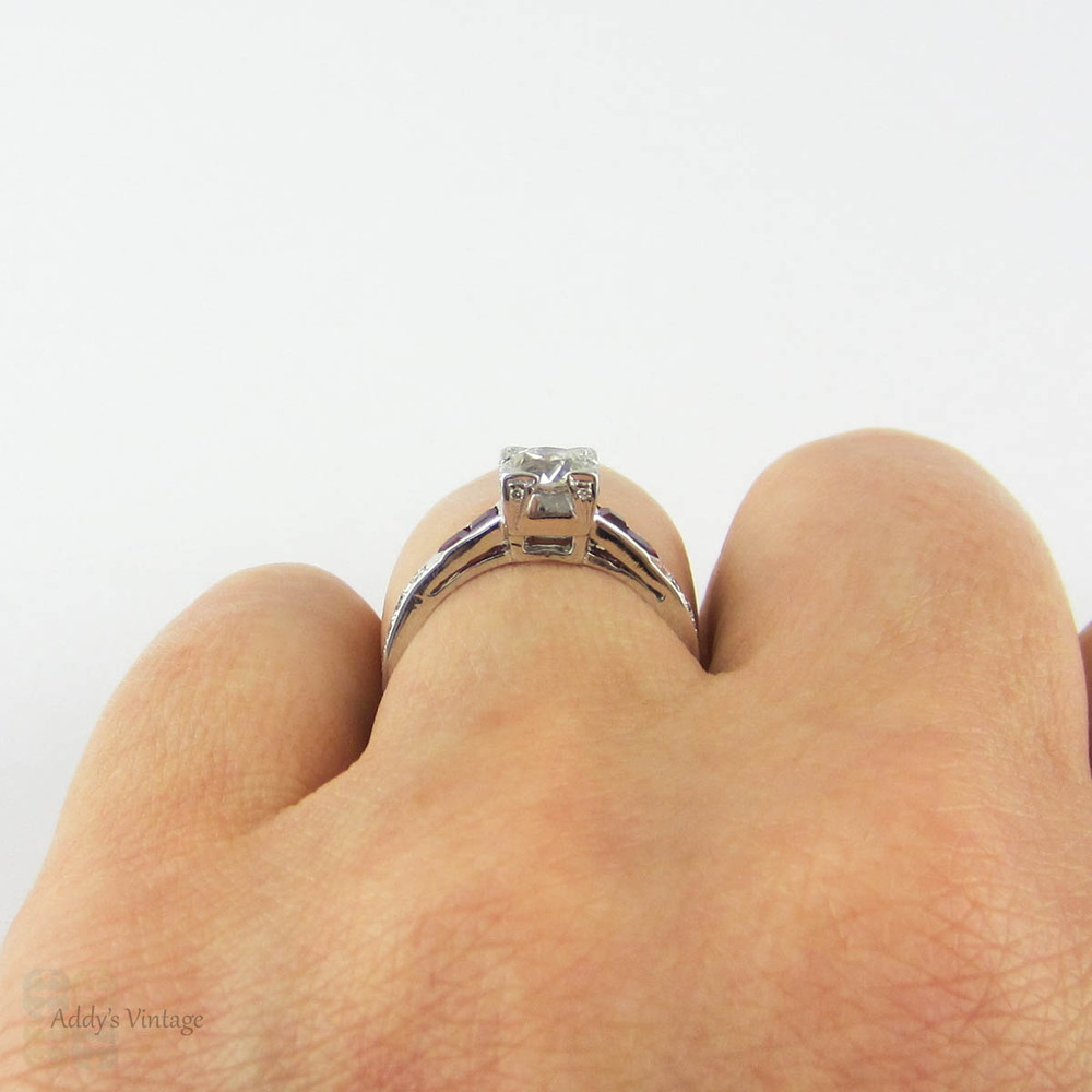 RESERVED - Payment 6. Old European Cut Diamond Engagement Ring. 18k White Gold Ruby Setting. Circa 1930s.
