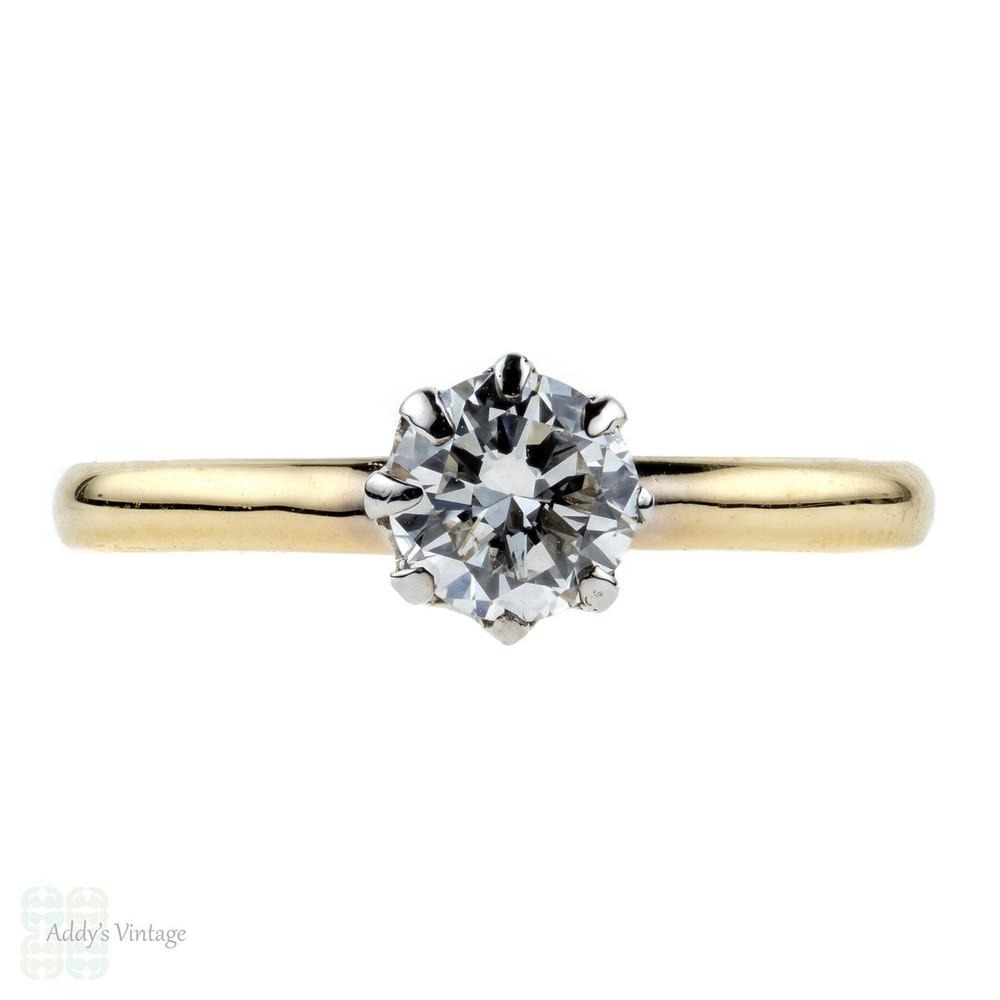 Diamond Engagement Ring, 0.55 ctw Vintage Solitaire, 9ct Crown Design Single Stone.