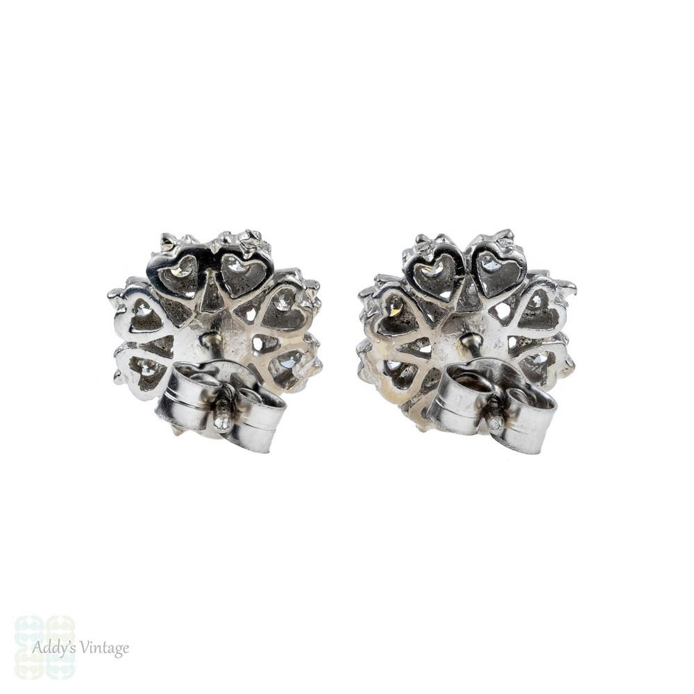 Ruby & Diamond Flower Earrings, Vintage 18ct 18k White Gold Cluster Studs.