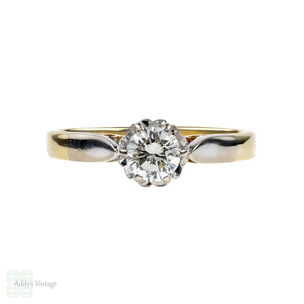 Vintage Diamond Solitaire Engagement Ring, 0.33 ct Single Stone. 18ct 18k Yellow Gold.