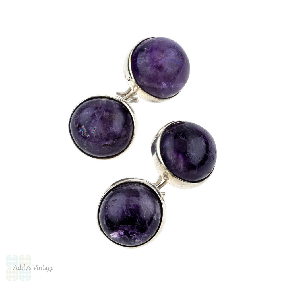 Amethyst & Sterling Silver Cuff Links, Vintage Mid 20th Century Mexico Silver Cufflinks.