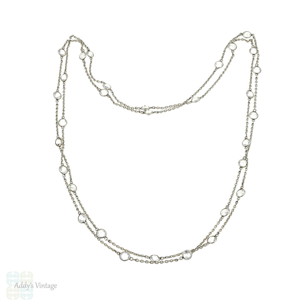 Art Deco Clear Paste Chain, 1920s Vintage Open Back Setting Long Chain. 52 inches.