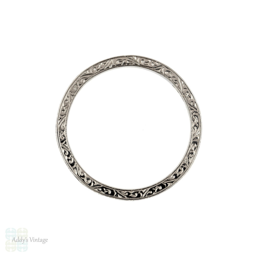 Platinum Engraved Wedding Ring, Vintage Love Heart Design Band. Size N / 6.75.