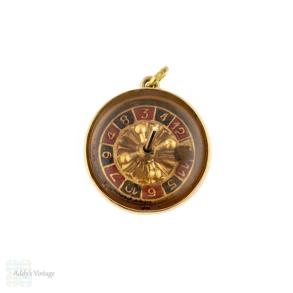 Roulette Wheel Charm, Vintage Working 14k Gold & Enamel Moving Las Vegas Gambling Pendant.