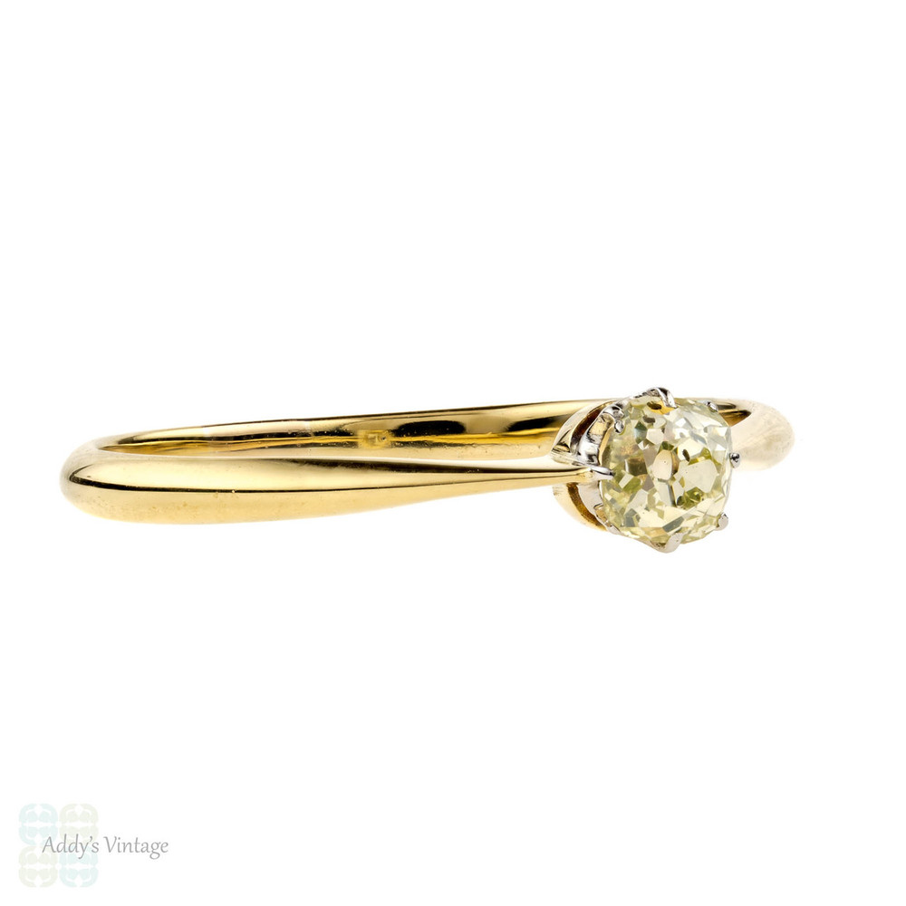 Antique Diamond Solitaire Engagement Ring, 0.36 ctw Old Mine Cut, 18ct 18k Yellow Gold.
