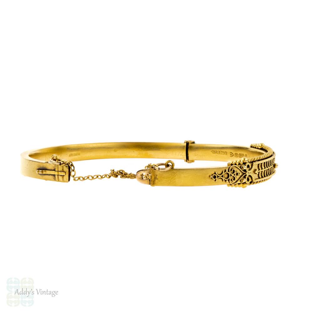 Edwardian Etruscan Revival 15ct Gold Bangle. Antique 15k Chester 1900s Hallmarked Beaded Bracelet.