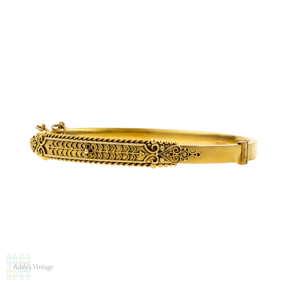 Edwardian Etruscan Revival 15ct Gold Bangle. Antique 15k Chester 1900s Hallmarked Beaded Bracelet.