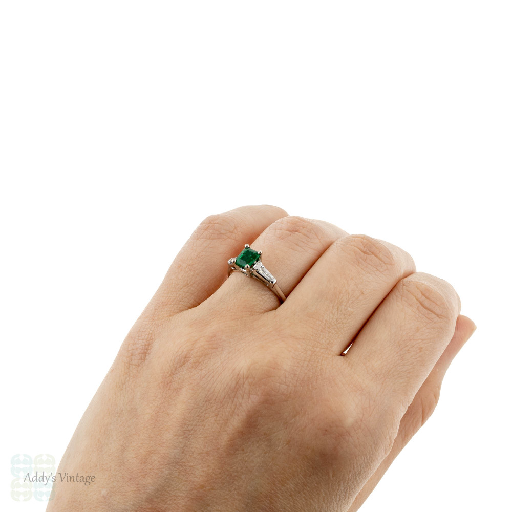 Emerald Engagement Ring, Vintage 1950s Tapered Baguette Diamond Platinum Setting.