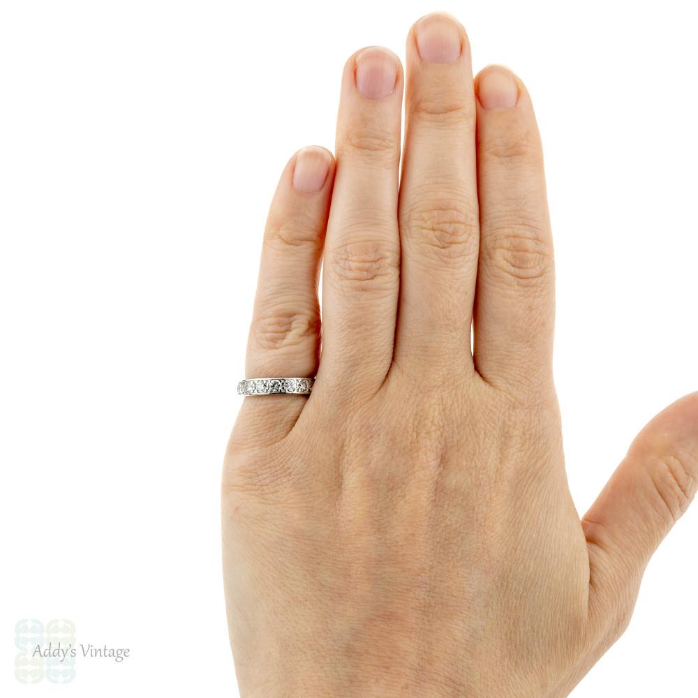 Diamond Eternity Ring, Vintage 18k 18ct White Gold Full Hoop Engraved Wedding Band.