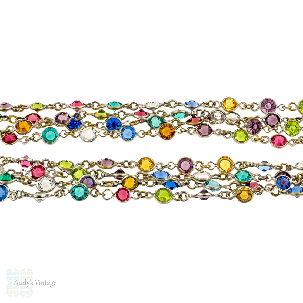 Antique Colourful Paste Chain, Silver Plated Open Back Bezel Set Long Guard Necklace.