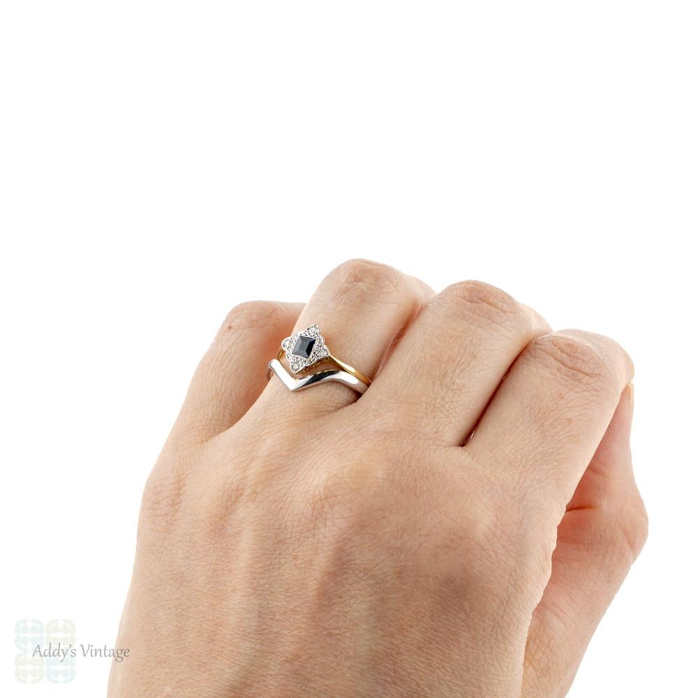 Sapphire & Diamond Engagement Ring, Art Deco Kite Set Ring. Circa 1920s, 18ct & Platinum.