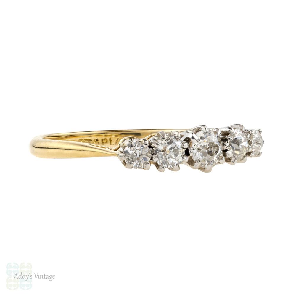 Old Mine Cut Diamond Five Stone Ring, Antique 0.55 ctw Graduated Ring. 18ct & Platinum.