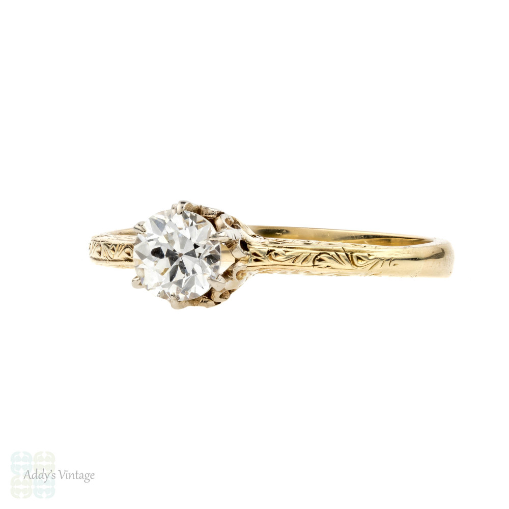 Old European Cut Diamond Engagement Ring, 0.35ct Art Deco Single Stone 14k Ring.