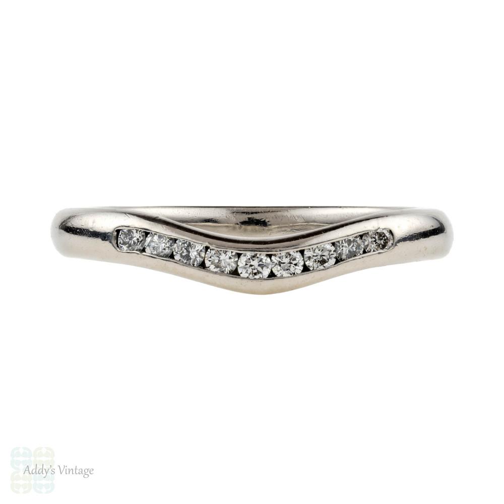 Curved Palladium Diamond Wedding Ring, Half Hoop Wishbone Shaped Band. Size M / 6.25.